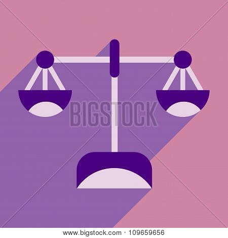 Flat with shadow icon stylish scales on bright background
