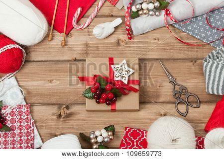 Christmas Background. Knitting And Sewing Kit. Natural Wool Yarn