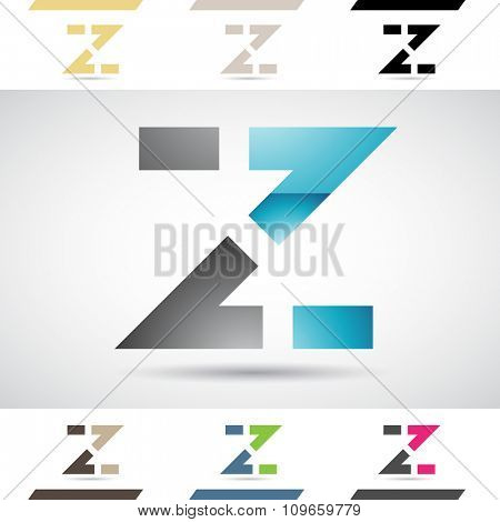 Design Concept of Colorful Stock Icons and Shapes of Letter Z, Vector Illustration