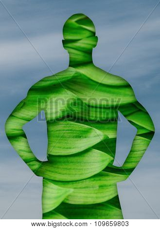 Man silhouette with green leaves, ecological concept
