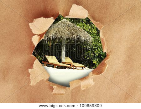 Paper frame with beautiful nature background