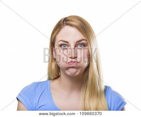 PoBlonde woman making pout