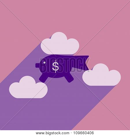 Flat with shadow icon piggy bank in the clouds