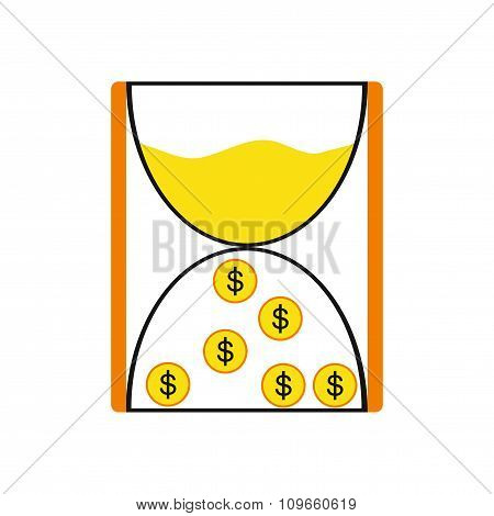 Modern flat icon cash clock on white background