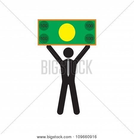 Modern flat icon man with bill on white background