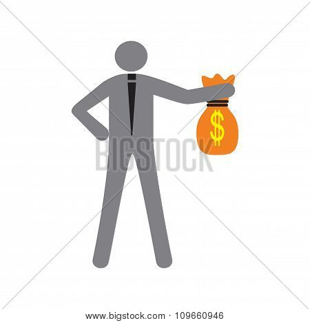Modern flat icon man with bag of money