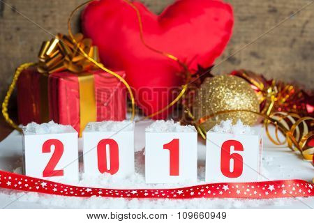 Greeting card with New Year gifts