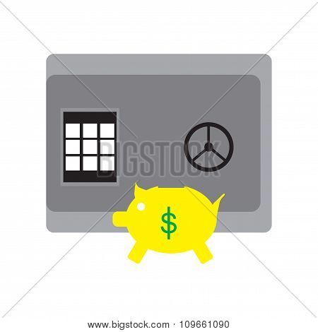 Modern flat icon safe and piggy bank on white background