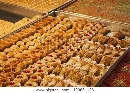 Sweets on sale in the Carmel Market in Tel-Aviv, Israel.