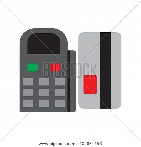 Modern flat icon bank card and terminal on white background