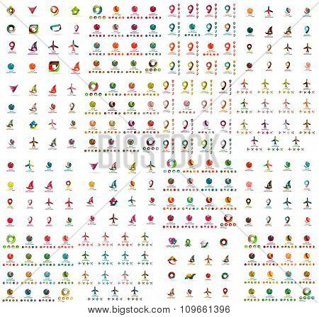Logo huge mega collection, abstract geometric business icon set. Modern clean universal symbols. illustration