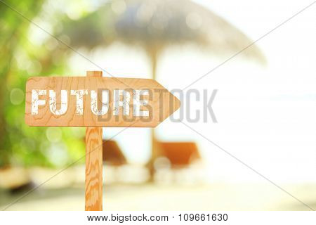 Future concept. Wooden sign board on beach background