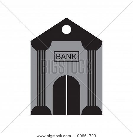Modern flat icon Bank building on white background