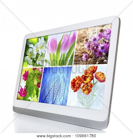 Tablet PC with images of nature objects, isolated on white