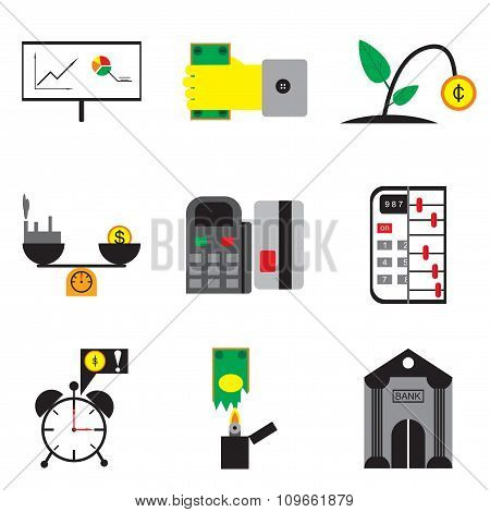 Modern collection flat icons economy on white background