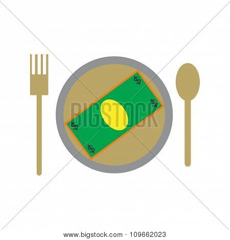 Modern flat icon bill on the plate