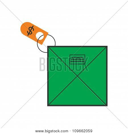 Modern flat icon bright envelope of money