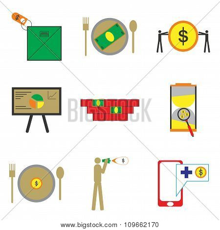Modern collection flat icons economic on white background