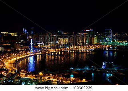 High viewpoint of the bay and the Caspain Sea at night, in Baku, capital of Azerbaijan