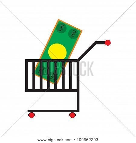 Modern flat icon with shadow money in trolley