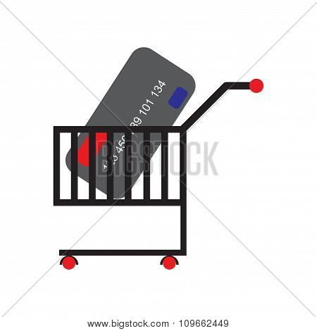 Modern flat icon with shadow bank card in the cart