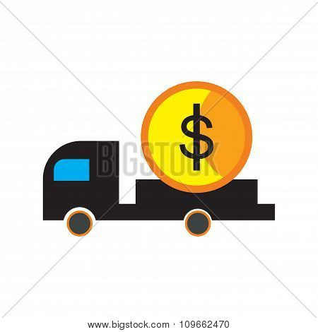 Modern flat icon with shadow car and money