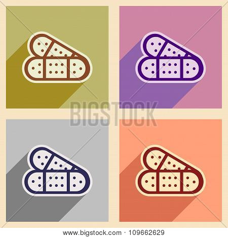 Icons of assembly medical plaster in flat style