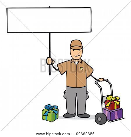 Parcel delivery man with gifts holding blank sign for christmas