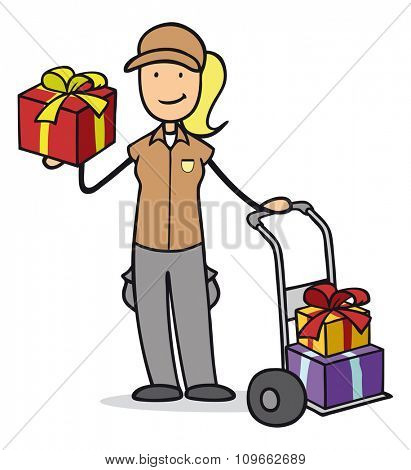 Woman as parcel carrier holding gifts for christmas