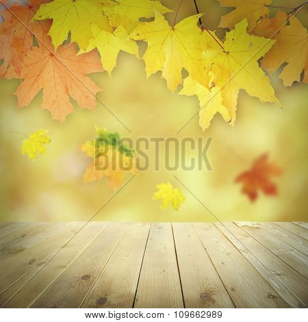 Autumnal leaves with bokeh and wooden floor. Beautiful natural autumnal background