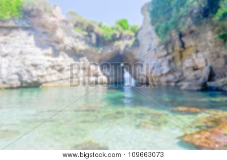 Defocused Background With Beautiful Natural Pool In Sorrento, Italy