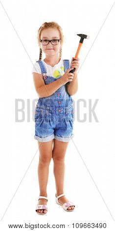 Little girl with hammer isolated on white background