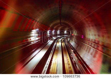 Underground Railway Tunnel In Motion Blur