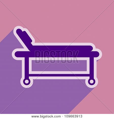 Icon of medical stretcher in flat style