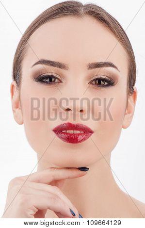 Pretty female model is receiving skin treatment
