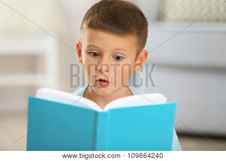 Little boy with book sitting on carpet, on home interior background