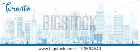 Outline Toronto skyline with blue buildings. Business travel and tourism concept with modern buildings. Image for presentation, banner, placard and web site.
