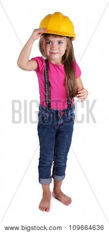 Little girl with toy tools isolated on white