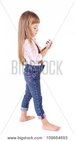 Beautiful little girl with mobile phone, isolated on white
