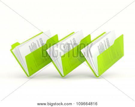 Three Green Folders In A Row