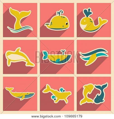Set flat icons with long shadow whales