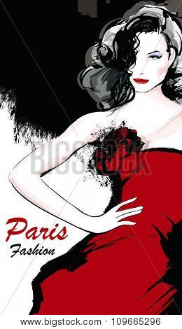 Young pretty fashion model with red dress in Paris - Vector illustration
