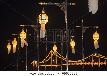 Lanna lantern, lanterns thai style decoration at Loi Krathong Sai Festival Tak, Thailand.