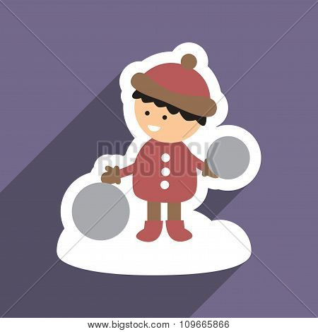 flat icon with long shadow child playing in snow