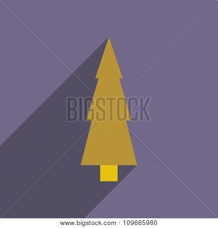 flat icon with long shadow Christmas tree