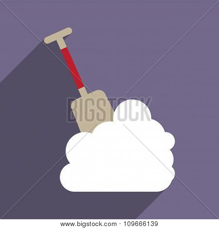 flat icon with long shadow snowdrift shovel