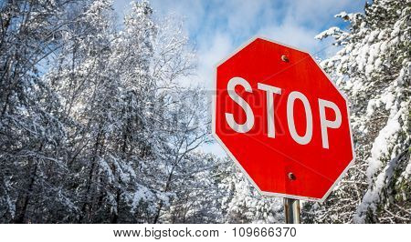 Stop sign on a winter woods road. Fresh fallen snow.