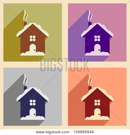 Set of flat icons with long shadow House under snow