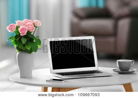 Comfortable workplace at home with laptop