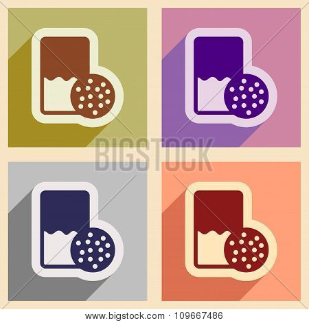 Set of flat icons with shadow glass milk and cookies